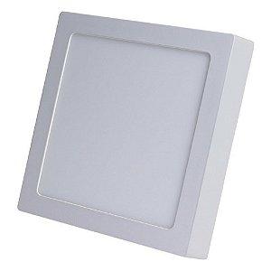 Kit 10 Luminárias Plafon LED 12W 17x17 Quadrado Sobrepor Branco Quente 3000k