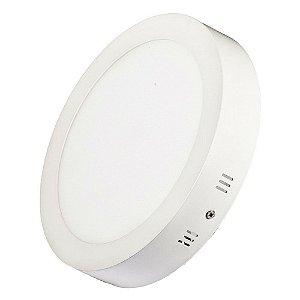 Luminária Plafon LED 18W 22x22 Redondo De Sobrepor Branco Quente 3000k
