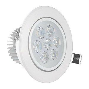 Spot 7W LED Dicróica Direcionavel Redondo Gesso Sanca De Embutir Branco Quente 3000k