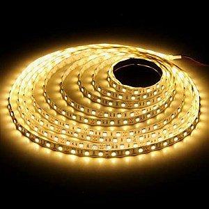Kit 10 Fitas LED 5050 5 Metros Siliconada Branco Quente 3000k Prova D'água+ Fonte