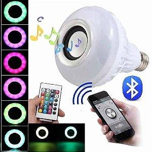 Lâmpada 12W LED RGB Bluetooth Com Caixa De Som + Controle Remoto+Controla pelo Celular