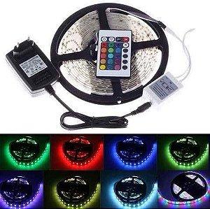 Kit 10 Fita LED 5050 RGB Multicolorido Siliconada Prova D'água 5 Metros + Fonte e Com Controle