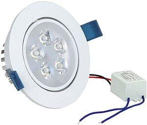 Spot 5W LED Dicróica Direcionavel Redondo Gesso Sanca De Embutir Branco Quente 3000k