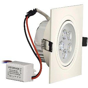 Kit 10 Spot 5W LED Dicróica Direcionavel Quadrado Gesso Sanca Branco Frio 6000k