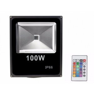 Refletor Holofote LED 100W A prova D'Água IP66 RGB Multicolorido Com Controle Remoto