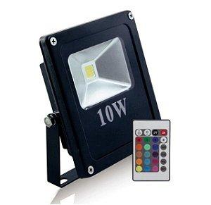 Refletor Holofote LED 10W A prova D'Água IP66 RGB Multicolorido Com Controle Remoto