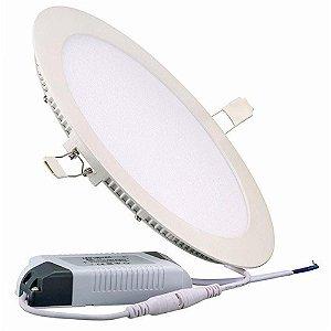 Kit 10 Luminárias Plafon LED 25W 30x30 Redondo Embutir Branco Quente 3000k