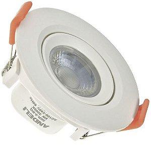Spot 3W LED Dicróica COB Direcionavel Redondo Gesso Sanca De Embutir Branco Quente 3000k