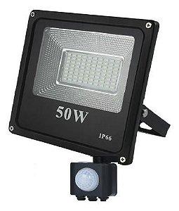 Refletor Holofote LED 50W A Prova d´Água Com Sensor de Presença Fotocélula Branco Frio 6000k