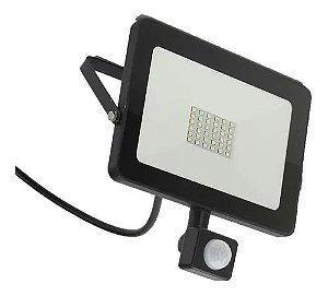 Refletor Holofote LED 30W Com Sensor De Presença Fotocélula Branco Frio 6000k