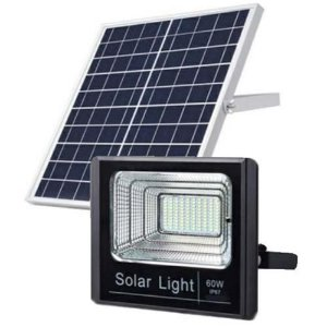 Refletor Led 60w Bateria Litio Painel Solar Jardim Branco Frio IP66
