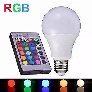 Lâmpada Bulbo 5W LED RGB 16 Cores Bivolt Com Controle