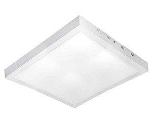 Luminária Plafon LED 36W 40x40 Quadrado De Sobrepor Branco Quente 3000k