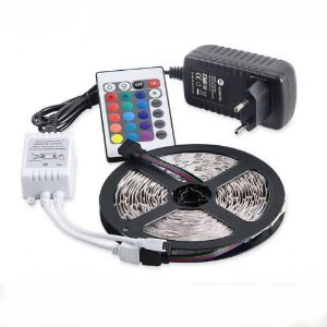 Fita LED 3528 RGB Multicolorido Siliconada Prova D'água 5 Metros + Fonte