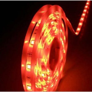 Fita LED 3528 Vermelho Siliconada Prova D'água 5 Metros + Fonte