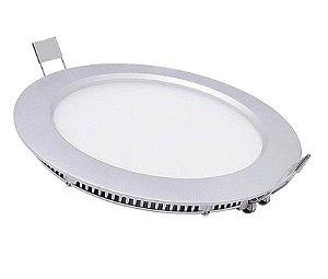 Luminária Plafon LED 12W 17x17 Redondo De Embutir Branco Quente 3000k