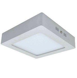 Luminária Plafon LED 6W 12x12 Quadrado De Sobrepor Branco Quente 3000k
