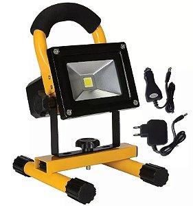 Refletor Holofote LED 10W Recarregável Com Suporte Branco Frio 6000k