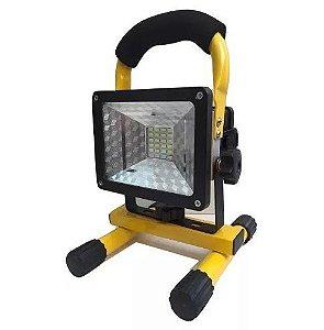 Refletor Holofote LED 30w - 12v - Recarregável Branco Frio