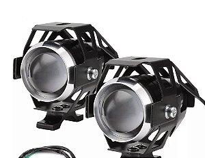 Par Faróis De Milha Led Auxiliar Neblina Moto Universal U7