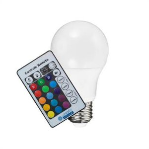 Lâmpada Rgb Bulbo Led 3w E27 110v/220v Bivolt + Controle