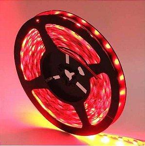 Fita LED 5050 Vermelho Siliconada Prova D'água 5 Metros + Fonte