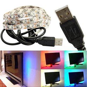 Fita Led Usb RGB Multicolorido 2 Metros Tv Computador
