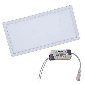 Luminária Plafon LED 36W 30x60 Retangular De Embutir Branco Quente 3000k