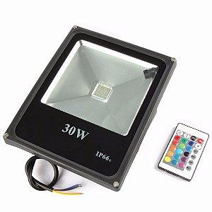 Refletor LED Holofote 30w IP65 A prova D'Água RGB Multicolorido + Controle Remoto