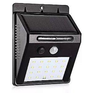 Luminária Solar LED Com Sensor de Movimento 20 LEDs A Prova D'Água