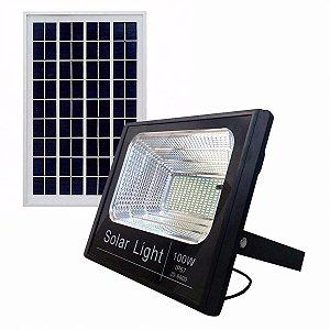 Refletor Painel Solar 100W LED Bateria Recarregável Litio Com Controle Branco Frio IP67