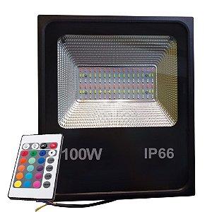 Refletor Holofote LED 100W SMD IP66 A prova D'Água RGB Multicolorido Com Controle