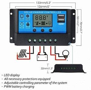 Controlador De Carga Solar LCD Display 20a 12/24v
