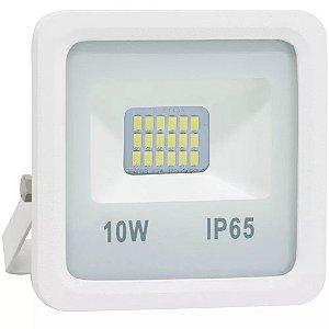 Refletor LED Holofote 10w SMD IP65 A prova D'Água Branco Frio 6000k Carcaça Branca