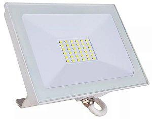 Refletor LED Holofote 30w SMD IP65 A prova D'Água Branco Frio 6000k Carcaça Branca