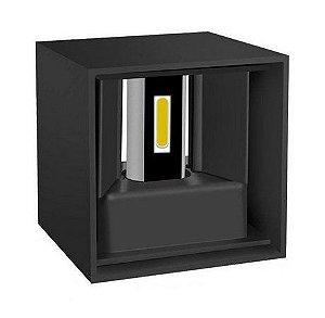 Luminária Arandela LED 6W A prova d'agua IP66 Branco Quente 3000k - Cubo Preta