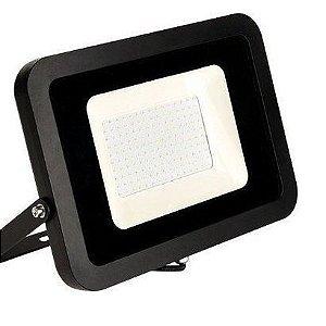 Refletor MicroLED Ultra Thin 100W Black Type Branco Frio 6000K  Carcaça Preta