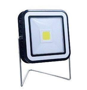 Refletor Solar LED 20W Quadrado Portátil Recarregável para Camping Branco Frio 6500k