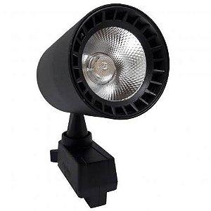 Spot 7W LED Preto para Trilho Eletrificado Branco Frio 6000k