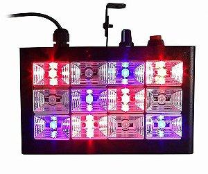 Refletor Holofote LED Strobo RGB 15W 12 Leds para Festa