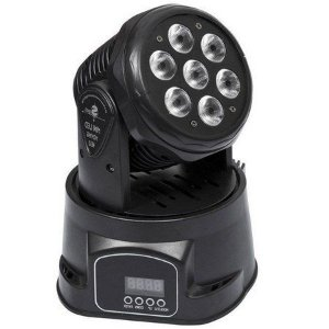 Mini Refletor Holofote LED Moving Head RGB 7 LEDS para Festa