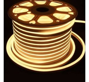 Fita LED 110v 100 Metros Mangueira Flexivel Neon Branco Quente 3000k