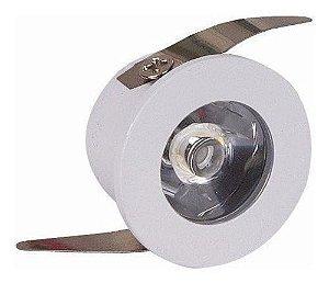 Spot LED COB 1W Redondo Embutir Branco Frio 6000k