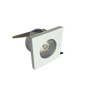 Spot LED COB 1W Quadrado Embutir Branco Frio 6000k