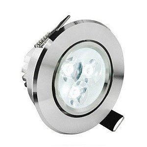 Spot Dicróica 3W LED Direcionável De Aluminio Branco Quente 3000k