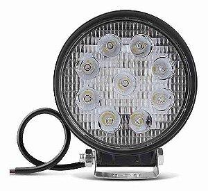 Farol de Milha 27W LED Redondo Auxiliar Automotivo