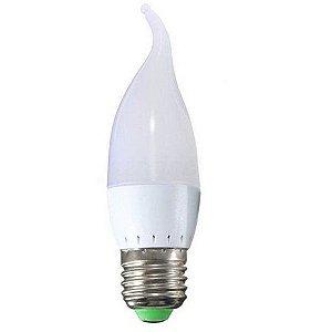 Lâmpada 3W LED Vela E14 Cristal Com Bico Branco Quente 3000K