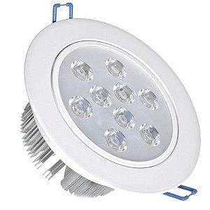 Spot 9W LED Dicroica Direcionável Redondo Gesso Sanca De Embutir Branco Quente 3000k