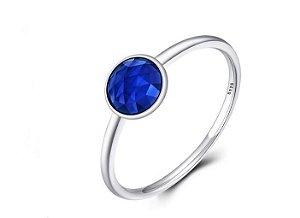Anel em Prata 925 Pingo Azul Aro 17