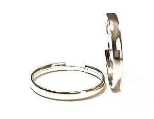Brinco Meia Cana de Argola 3cm em Prata 925
